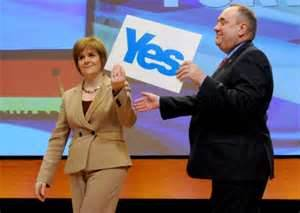 Salmond and Sturgeon hold the official 'Yes' campaign in their hands