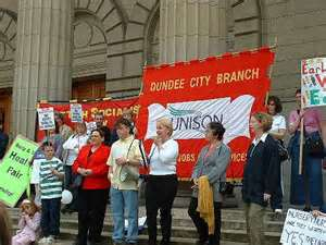 The 2004 Scottish nursery nurses strike rally in Dundee