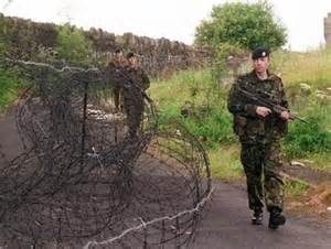 Scottish soldiers on patrol in Northern Ireland