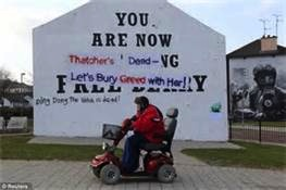 Some new graffiti on the famous Free Derry Wall after Thatcher's death.