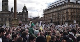 Celtic fans in Glasgow protest against the Offensive Behaviour Act