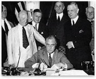 Roosevelt signs the Glass-Steagall Banking Bill