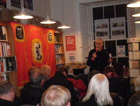 Allan Armstrong beside the Edinburgh TGWU banner at the Wordpower book launch