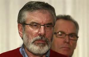 Gerry Adams and Gerry Kelly, Sinn Fein, look disconsolate after the collapse of the Haas Talks.