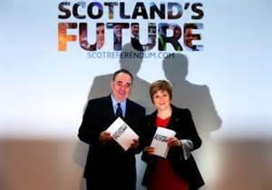 Alex Salmond and Nicola Sturgeon present the SNP government's 'White Paper' to a press conference