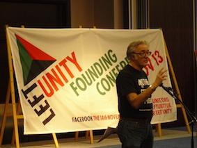 Steve Freeman of the Republican Socialist Alliance speaking at Left Unity conference