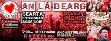 Poster advertising An Lar Dhearg protest in Belfast on 12th May
