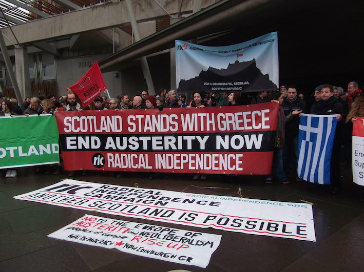 RIC initiated demonstration in support to the Greek people at Scottish Parliament on 14.2.15