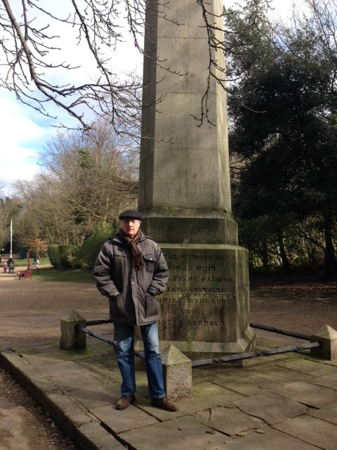 Steve Freeman at the Scottish Friends of the People Martyrs Monument in Nunhead Cemetery, south London.
