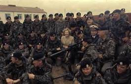 Thatcher celebrates Falkland War victory