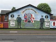 Loyalist mural in Belfast celebrating 'Ulster' - the UDR and UVF