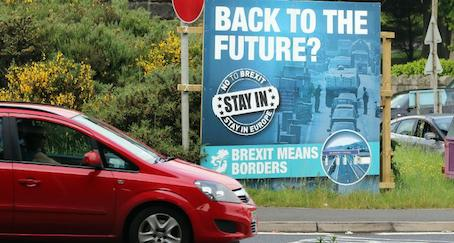 Sinn Fein poster highlighting likely consequence of Brexit for Ireland