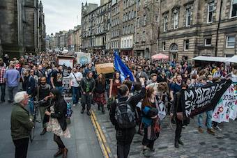 Migrant Solidarity Network march in Edinburgh oransised after Brexit vote on June 24th