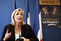 Marine Le en of France's Front National announces her solidarity with Brexit