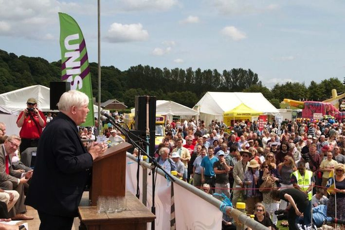 Davey Hopper addressing Durham Miners Gala