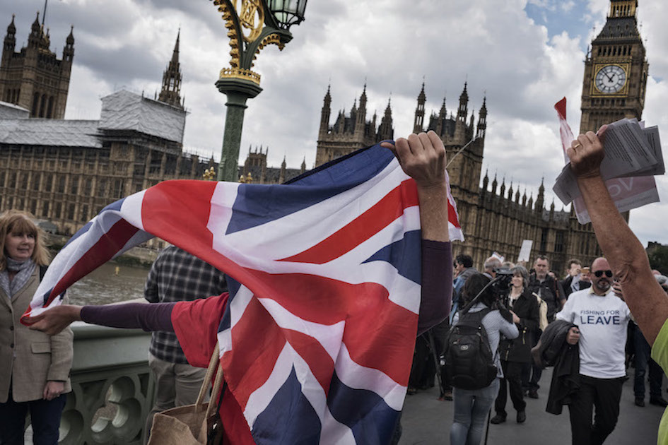 """FILE -- A """"Leave"""" rally in London ahead of Britain's referendum on European Union membership, June 15, 2016. From Trump's unexpected capture of the Republican presidential nomination to Britain's vote to exit the European Union and the rise of right-wing nationalism in Norway, Hungary, Austria and Greece, white anxiety has fueled the year's political tumult. (Adam Ferguson/The New York Times)"""